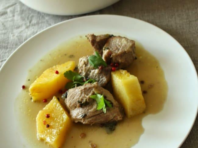 Sauté de porc coriandre, miel, lait de coco et ananas