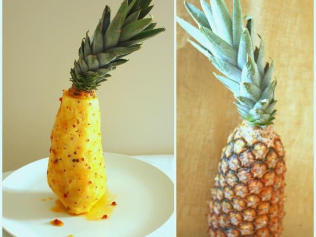 Ananas pain de sucre rôti au miel et aux baies roses