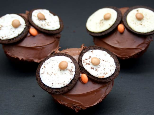 Cupcakes chouettes pour Halloween