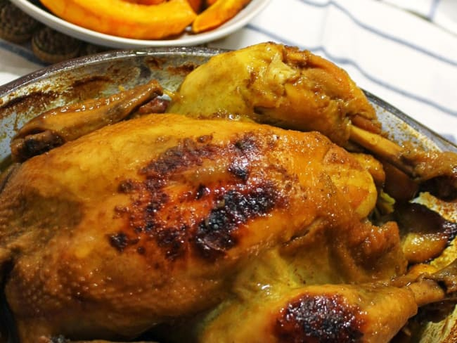 Poulet rôti au curry et à la courge potimarron