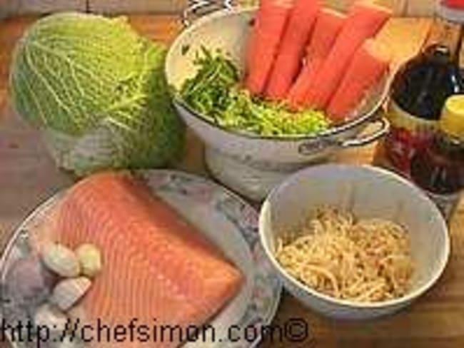 Saumon en feuilles de chou
