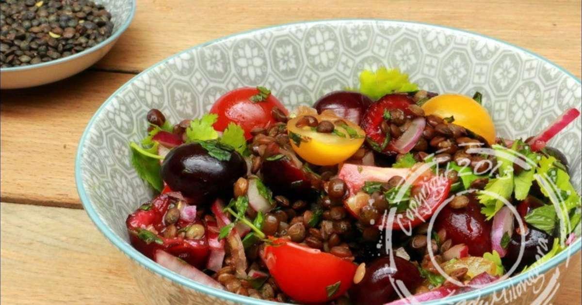 salade de lentilles aux cerises aux parfums asiatiques recette par ladymilonguera. Black Bedroom Furniture Sets. Home Design Ideas