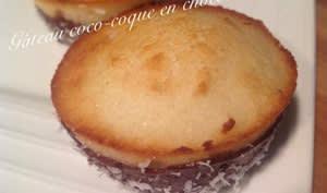 Petits gâteaux noix de coco-nappage chocolat