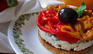Cheesecake au chèvre et poivrons rôtis sans cuisson