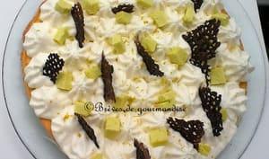 Tarte moelleuse à l'huile d'olive, chocolat blanc et citron vert