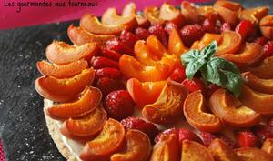 Tarte aux abricots - fraises au basilic
