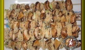 Brochettes de moules panées