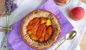 Tartelettes aux pêches, abricots et lavande, pâte à l'amande