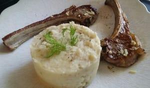 Côtes d'agneau gingembre. Purée au fenouil.