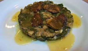 Cèpes en duxelle aux blettes, ris de veau et lard de Colonnata