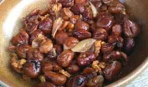 Châtaignes confites aux échalotes et aux noix