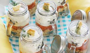Little Jars à la Truite fumée et Mousse citron-aneth