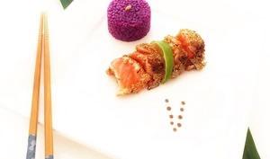 Tataki de saumon sauvage et riz améthyste
