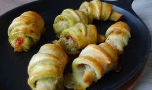Croissants jambon cru, pesto, mozza