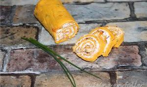 Roulé carotte, noix, ciboulette