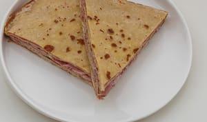 Gâteau de crêpes au jambon et saint moret