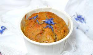 Muffins à la rhubarbe, graines de pavot et aux bleuets