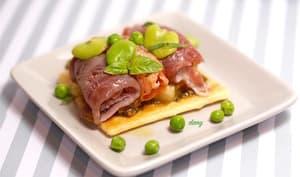 Tartelettes feuilletée au pesto et carpaccio de thon et saumon au basilic