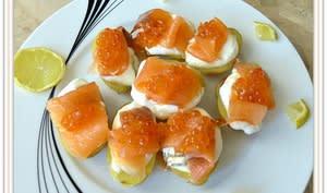 Petites pommes de terre à la crème de saumon fumé