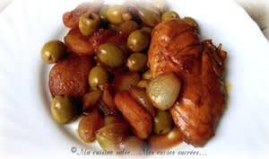 Filets de poulet olives et abricots