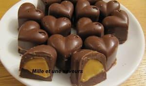 Petits coeurs au chocolat caramel à la confiture de lait