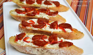 Bruschettas mozzarella, chorizo