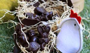 Coques et sujets au chocolat de Pâques