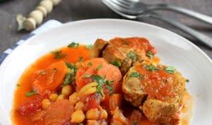 Filet mignon en cocotte, carottes et pois chiches
