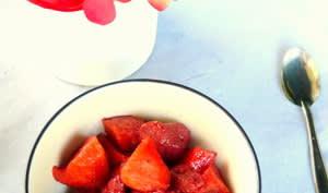 Compote de pommes et fraises à la vanille