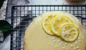 Cake de polenta au citron et ganache sureau chocolat blanc