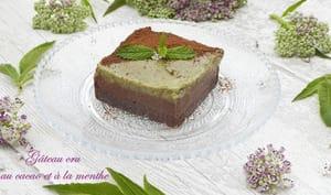 Gâteau crémeux au cacao et à la menthe