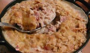 Gratin de crozets au sarrasin, cancoillotte, jambon et tomme de Savoie IGP
