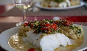 Dos de cabillaud, quinoa et sauce aux câpres