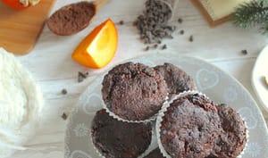 Cakes au chocolat, cacao et kaki