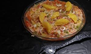 Carpaccio de saumon mariné à l'orange
