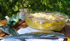 Gratin de poisson poireaux et riz au curry