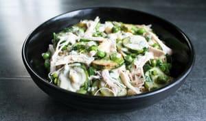 Légumes verts, blé, sauce à la Fourme de Montbrison