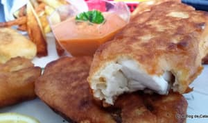 Fish and Chips avec poisson maigre Corvina Rex