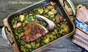 Carré d'agneau aux fèves et pommes de terre nouvelles