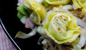 Salade d'endives aux ravioles croquantes