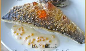 Loup clouté au gros sel et cannelloni de caviar d'aubergines