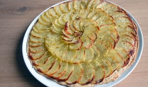 Tarte fine de pommes de terre au thym