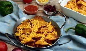 Gratin de nachos au cheddar