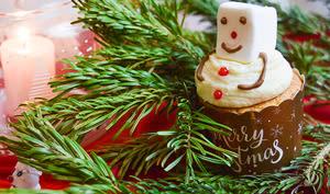 Cupcakes vanille bonhommes de neige
