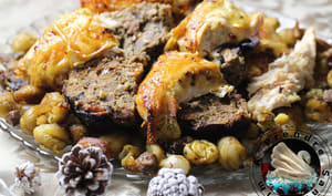 Pintade farcie marrons champignons