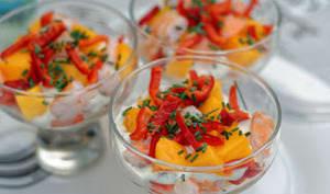 Verrines de crevettes, mangue et poivrons