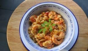 Sauté de crevettes aux épices et riz basmati