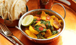 Mauritian butterbean, potato and spinach curry