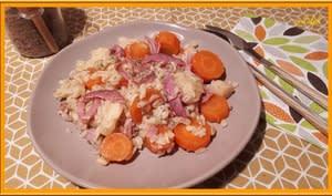 Blé aux carottes, panais, et bacon