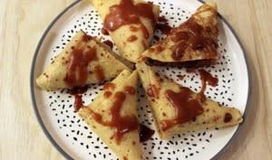 Samoussas de crêpes pommes et caramel au beurre salé